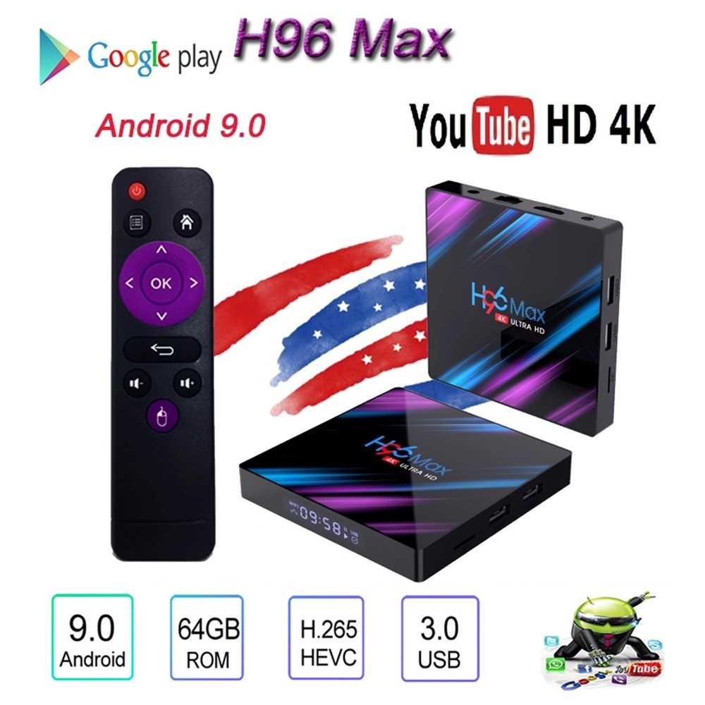 H96 Max 9.0 Android Smart Tv Box 4Gb + 64Gb Draadloze Iptv Box 4K Usb Set Top box Wifi 2.5G 5G Voor Netflix Youtube Google Play