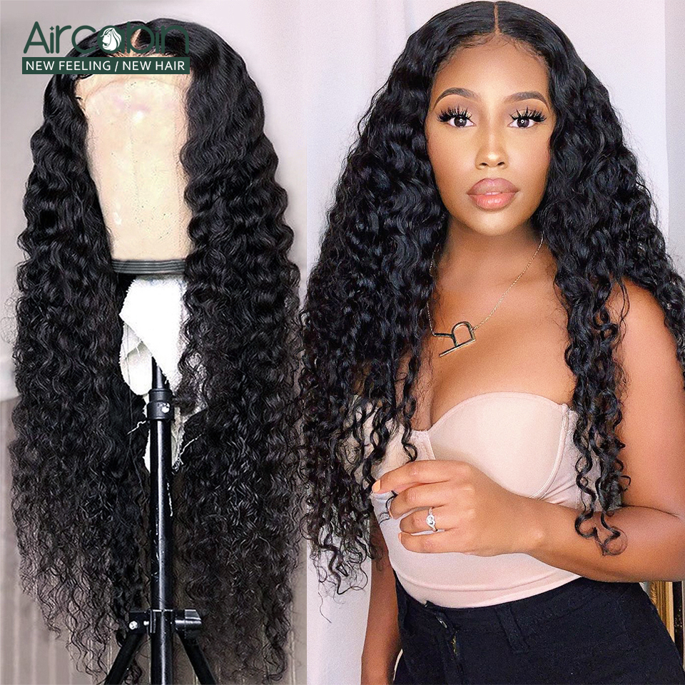 Aircabin 32 30 Inch 13x6 Deep Wave Lace Frontal Wigs For Black Women 150 Density Brazilian Human Hair Lace Closure Wigs Non-Remy