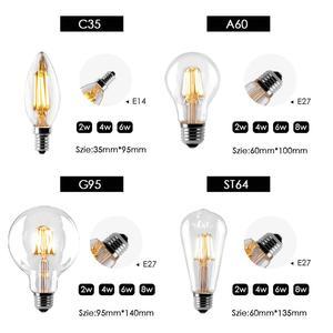 Image 2 - หลอดไฟLED E27 Retro Edisonโคมไฟ220V E14 Vintage C35เทียนแสงG95 Globe AmpouleแสงCOB home Decor