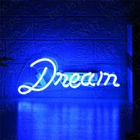 Blue Dream Gift Neon Signs Real Glass Tube Beer Bar Pub Handmade Homeroom Girlsroom Party Decor Light 14 inch