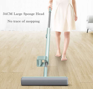 Image 5 - Hand Free Can Stand Mop for Wash Floor 180 Magic Squeeze Flat Mop 34cm Large Sponge Lazy Mop Household Cleaning Home Wooden Tile