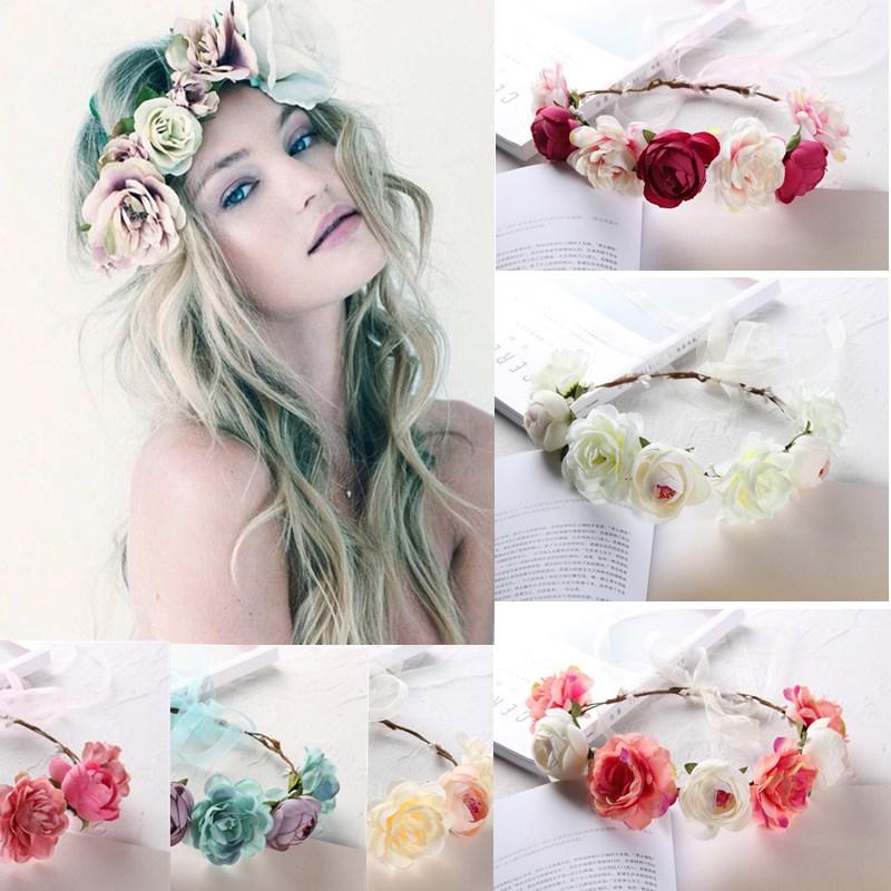Женский цветочный венок для невесты, свадебный аксессуар для волос с цветочным орнаментом и фотографией, аксессуар для волос с цветочным ор...