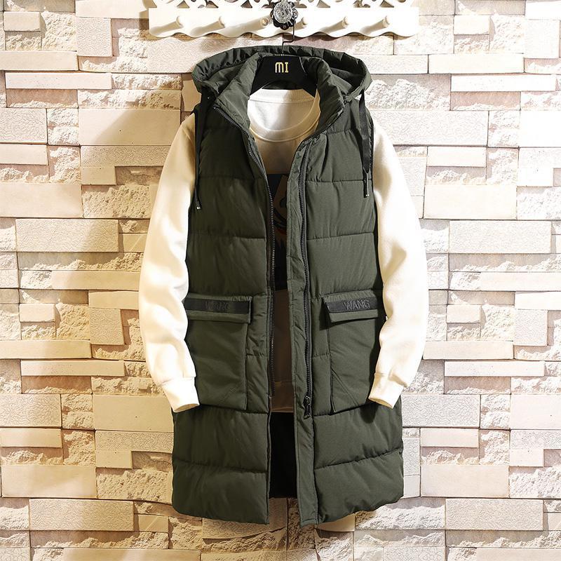 Mens Winter Sleeveless Jacket Men Vest Long Warm Thick Hooded Coats Male Cotton-Padded Zipper Working Waistcoat Gilet Homme Vest