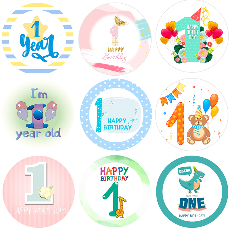 1 Year Boy Girl Birthday Stickers First Birthday Party Decorations Blue Pink Baby Shower Party Set Anniversary Party Decor Kids