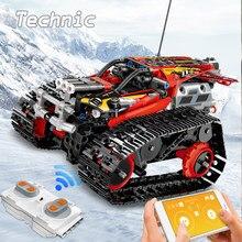 Yüksek teknoloji RC araba yapı taşları Technicque paletli yarış dublör araba tuğla APP radyo uzaktan kumandalı kamyon oyuncaklar çocuklar için çocuk