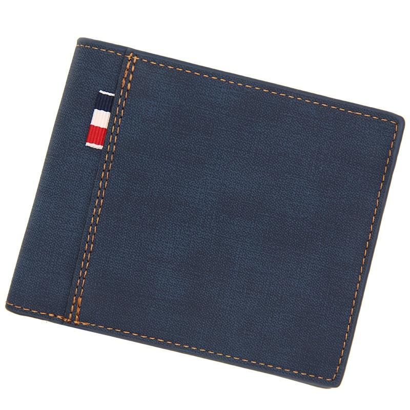 Men's Wallet Money Bag Solid Color Leather Business Short Wallet Famous Vintage Male Walltes Purse 9