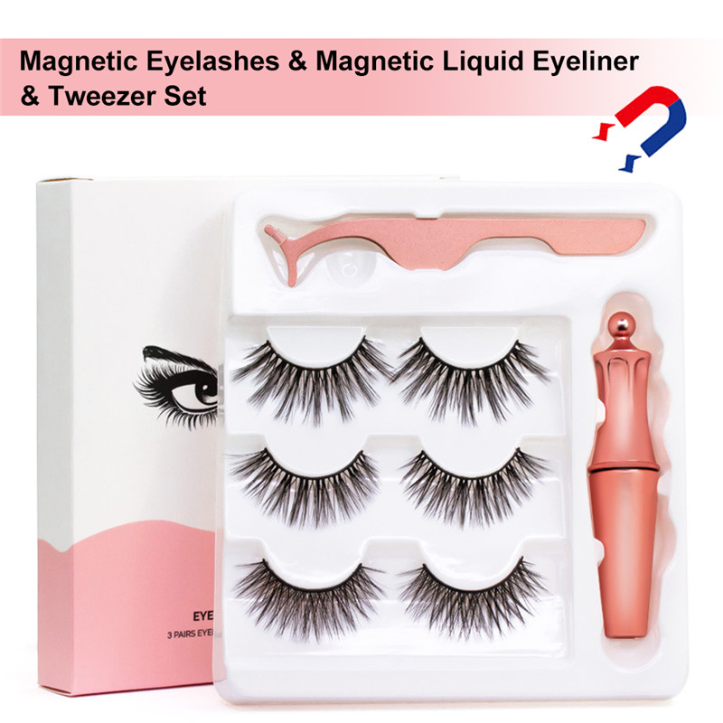 3 Pairs Combinations Magnetic False Eyelashes & Magnetic Liquid Eyeliner & Tweezer Set Natural Thick Eyelashes Set Big Eye Tools