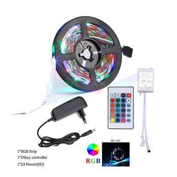 5M 10M 15M RGB Tape Led Strip Lights 5050 2835 12V Waterproof Flexible Neon Diode Ribbon Tiras Led Remote Controller +Adapter EU