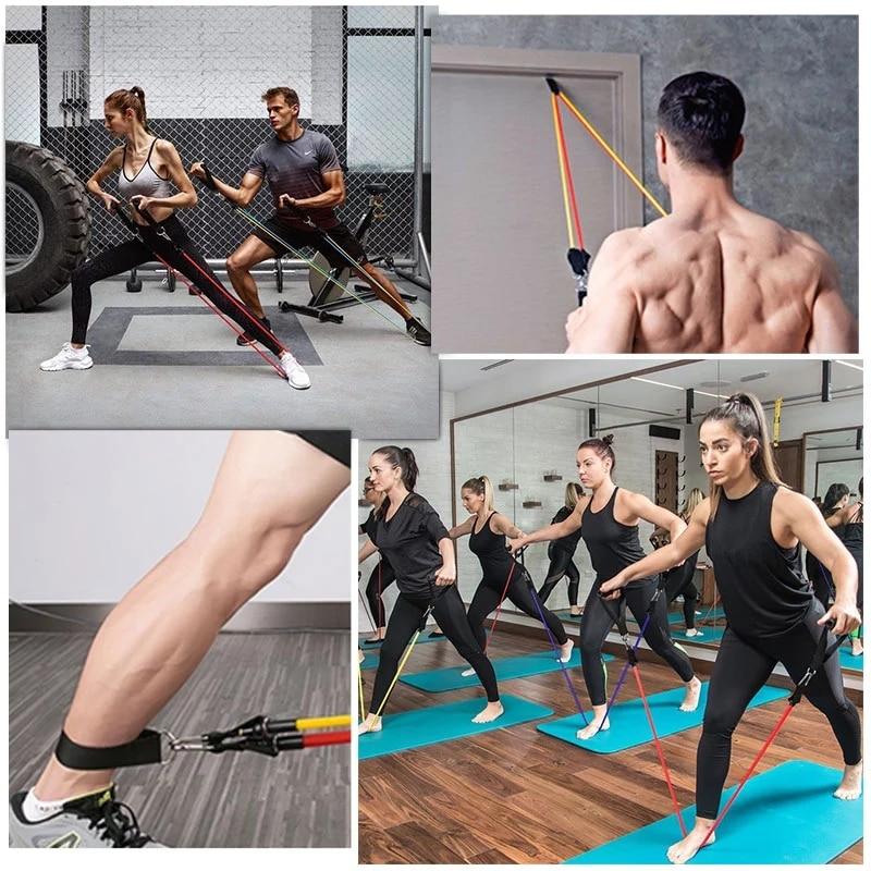 Эластичные ленты из латекса, 17 шт./компл., ремешки на лодыжку с якорем для тренажерного зала, комплект ремешков для упражнений для йоги, резиновая петля для фитнеса-5