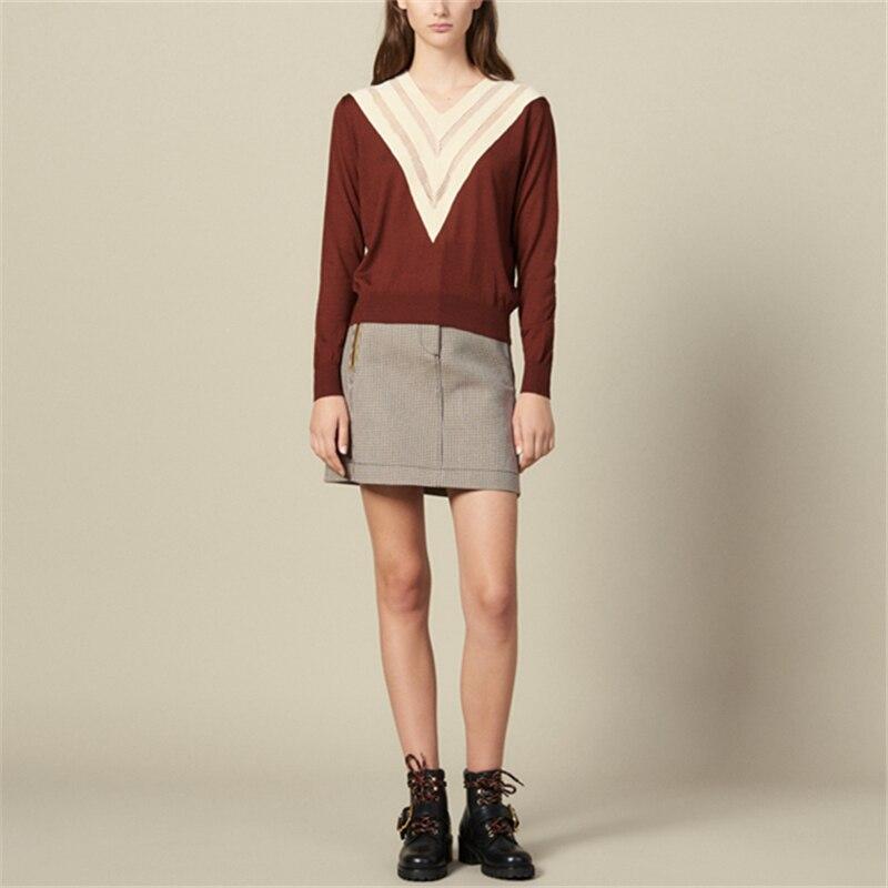 Tunjuefs ample col en v couleur bloc pull femmes pull évider pulls haut tricoté à manches longues Streetwear maillot décontracté