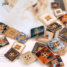 4 Hole 20mm 34mm Acetate Metal Square Buttons for Fashion Clothing Women Jacket Suit Coat Button Decorative Gold Amber Design