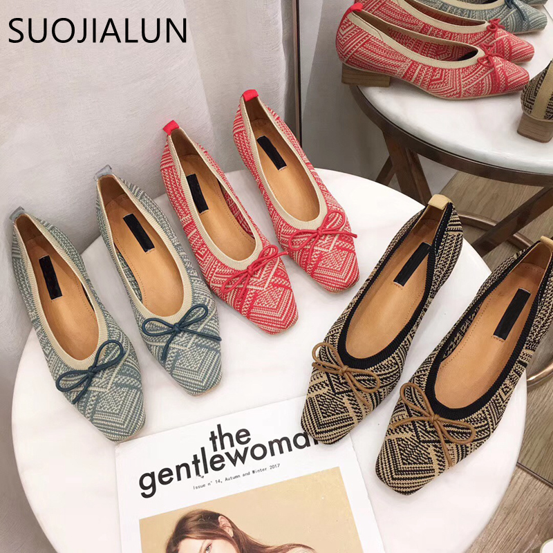 SUOJIALUN Women Flat Shoes 2019 Autumn Pointed Toe Slip On Ballet Causal Outdoor hallow Boat Woman Loafer