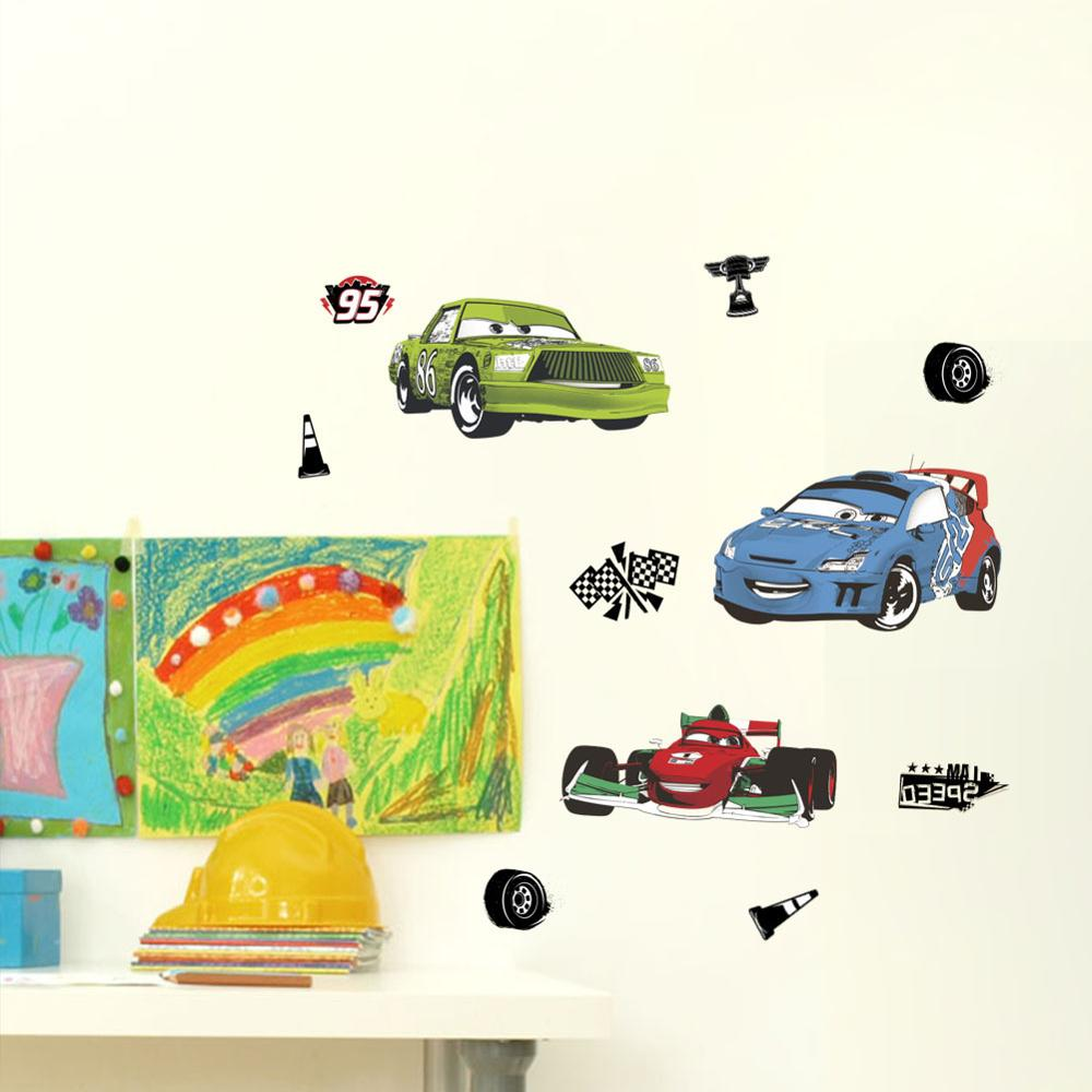 Cartoon Mcqueen Cars 3D Wall Stickers for Kids Room Boys Fake Window PVC Wallpaper Murals Sticker Decals Room Decoration Nursery 12