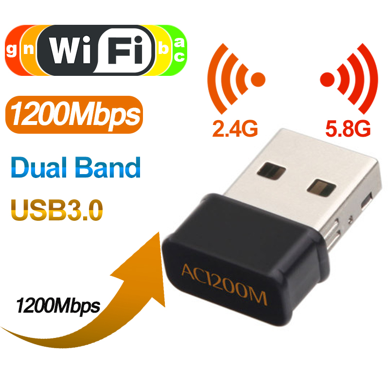 1200Mbps USB Wifi Adapter Dual Band 2.4Ghz 5.8Ghz USB Wireless WiFi Network Card for Windows Mac OS Desktop Laptop Drop Shipping image