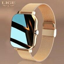 """Lige novas mulheres relógio inteligente masculino 1.69 """"tela colorida toque completo rastreador de fitness chamada bluetooth relógio inteligente senhoras relógio inteligente"""