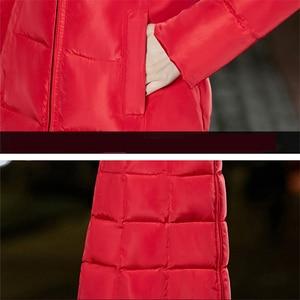 Image 5 - プラスサイズジッパー付きロングコート女性固体 6XL 冬ダウンジャケット女性のファッションスリム厚みコート上着