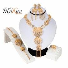 Wholesale bridal jewelry sets African Costume Zinc Alloy Jewelry Set Nigerian Wedding big set Dubai Gold