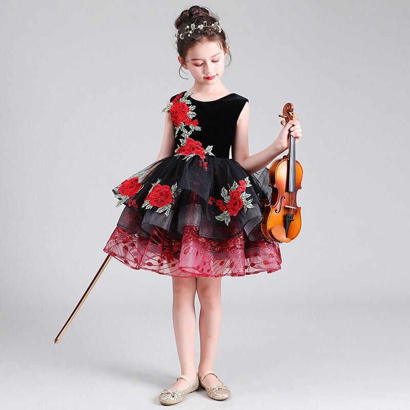 CHILDREN'S DAY Violin Table Performance CHILDREN'S Dress Princess Dress Catwalks Flower Boys/Flower Girls Puffy Yarn Birthday CH