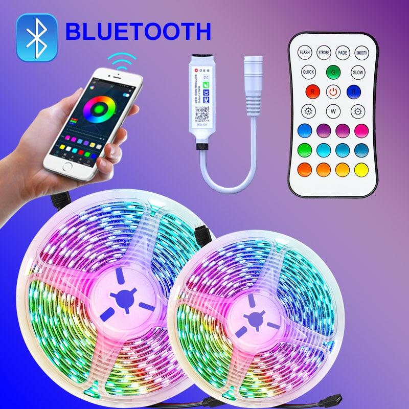 5050 Светодиодные полосы светильник SMD гибкая лента 5 м 15 Светодиодный светильник s 20 м 10 м клейкие диода AC/Dc 12v с телефон Bluetooth APP для Рождества
