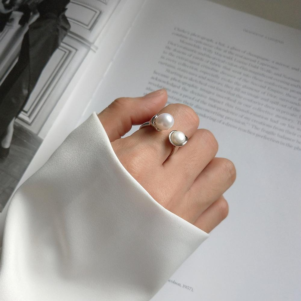 Kinel Jewelry Ring Pearl-Ring-Design S925-Sterling-Silver Personality Simple Opening title=