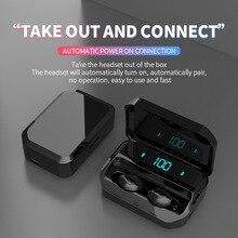 FOOVDO 3500mAh TWS Earphones Stereo Bluetooth 5.0 Wireless IPX7 Waterproof Headphone LED Display with Mic Touch Key