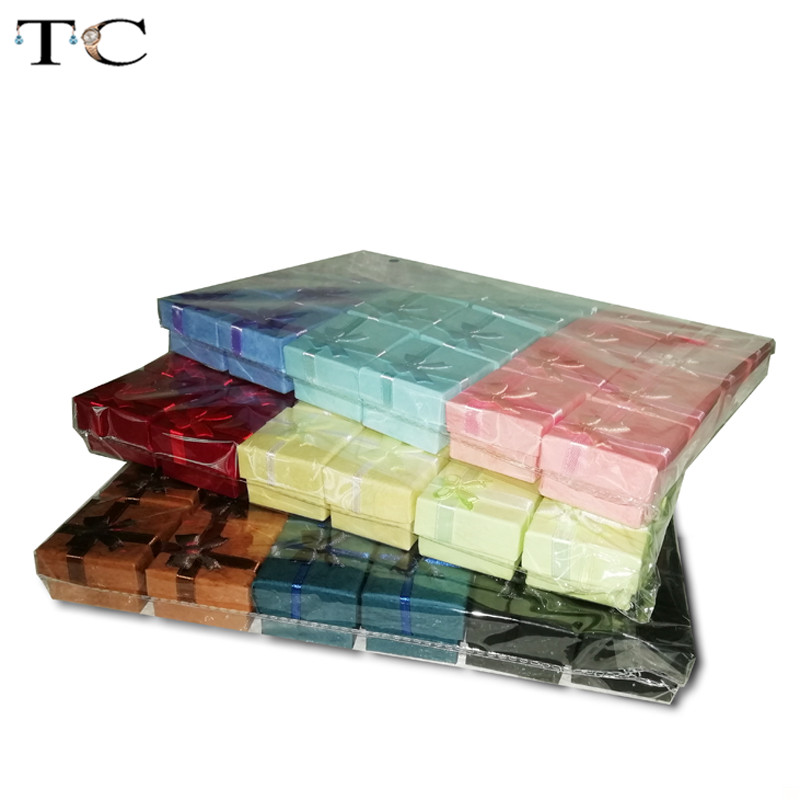 48pcs/lot Assorted Jewelry Gifts Boxes For Jewelry Display 4*4*3cm Assorted Colors Ring Box Small Gift Boxes