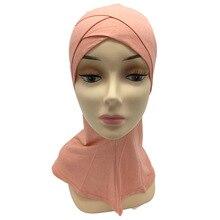 Varejo duas camadas dupla crossover muçulmano algodão ninja underscarf