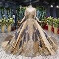 Arabic Glitter Wedding Dresses Gold Bridal Ball Gowns 2019 Elegant Backless Boat Neck Cap Sleeves Beads Lace Vestido De Novia