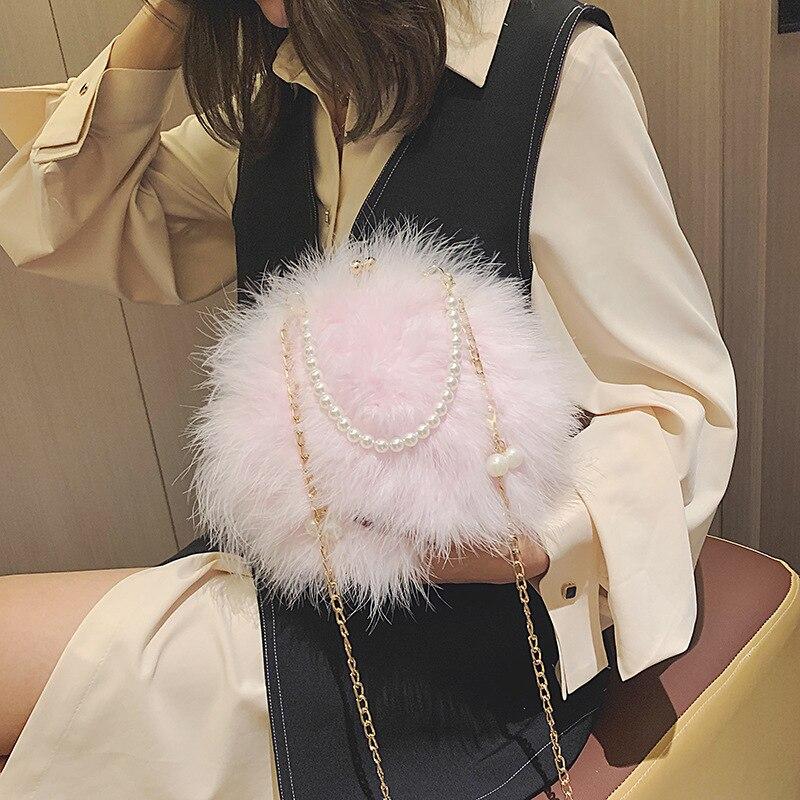 Sac fourrure chaine perle femme sac bandoulière epaule main petit sac rond