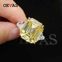 OEVAS Solid 925 Sterling Silver 14*16mm Topaz High Carbon Diamond Wedding Rings For Women Sparkling Party Fine Jewelry Wholesale