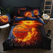 3pcs/set Soccer basketball Duvet Cover Set 3D Football Printed Bedding Set Single Double Home Textile + Pillowcase