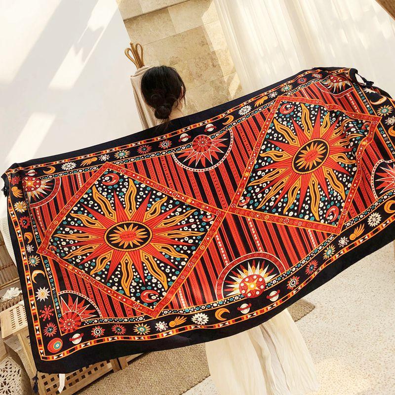 beach travel scarf shawl women Tassel Printing Large Flower luxury Shawl Scarf Seaside Holiday Sunscreen wrap large size