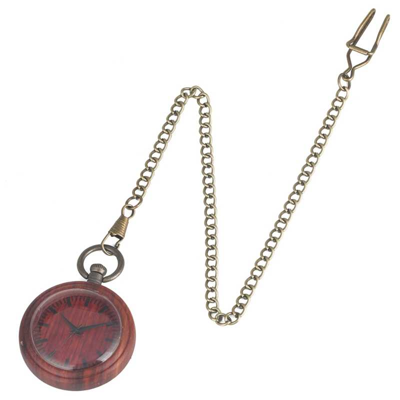 Vermelho do vintage de Madeira Relógio de Quartzo Analógico Relógio de Bolso Cadeia de Relógio De Madeira Padrão Portátil Colecionáveis Presentes Da Lembrança para Mulheres Dos Homens