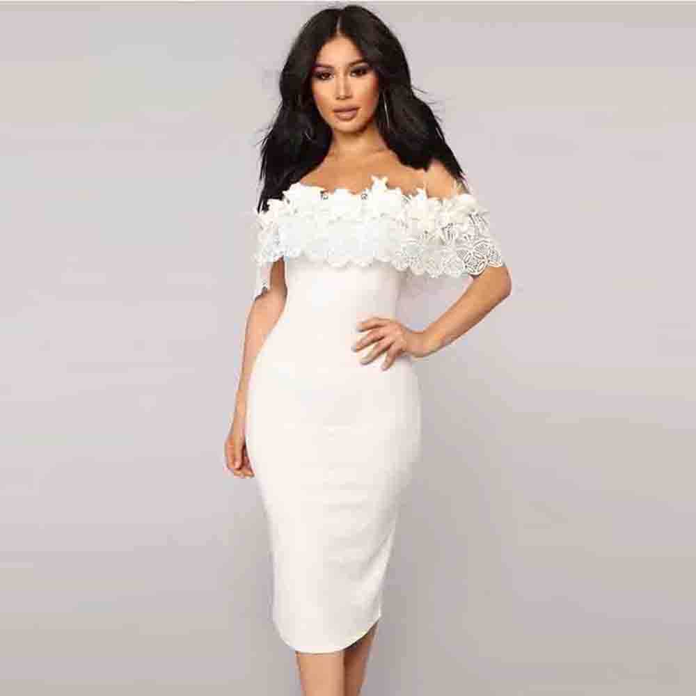 Ocstrade 2020 Summer New Off The Shoulder Dress Bandage White Bodycon Bandage Party Sexy Lace Celebrity Evening Party Dress
