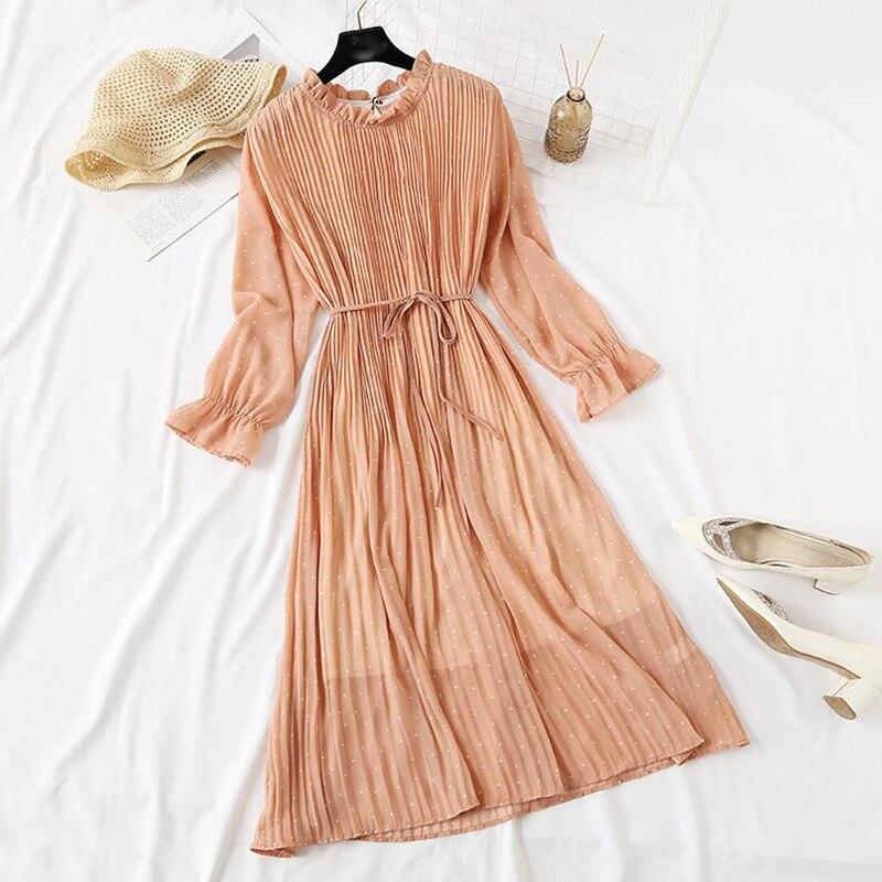 Women Print Pleated Chiffon Dress 2019 Spring Summer New Hot Fashion Female Casual Flare Sleeve Lotus leaf neck Basic Dresses 45