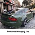 32954299818 - Envoltura de vinilo satinado de alta calidad verde militar para coche, película de envoltura de vinilo de alta calidad, adhesivo de adherencia inicial bajo