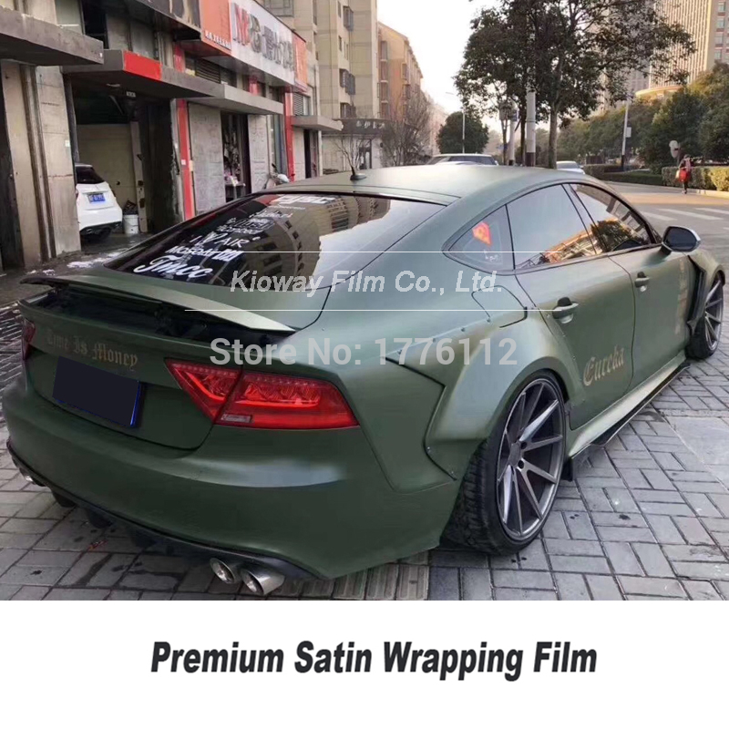 Highest Quality Satin Vinyl Wrapping Military Green Car Warpping Vinyl Wrapping Film   Premium Low Initial Tack Adhesive