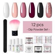 Prego mergulhando em pó conjunto de escova mergulho francês brilho shinning unhas manicure kit várias cores duradouras