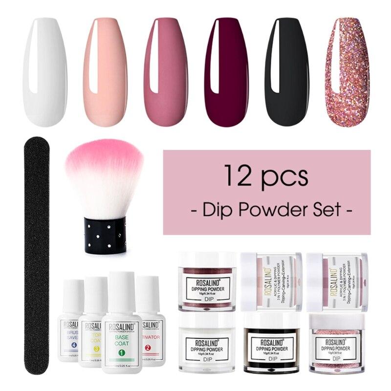 prego mergulhando em po conjunto de escova mergulho frances brilho shinning unhas manicure kit varias cores