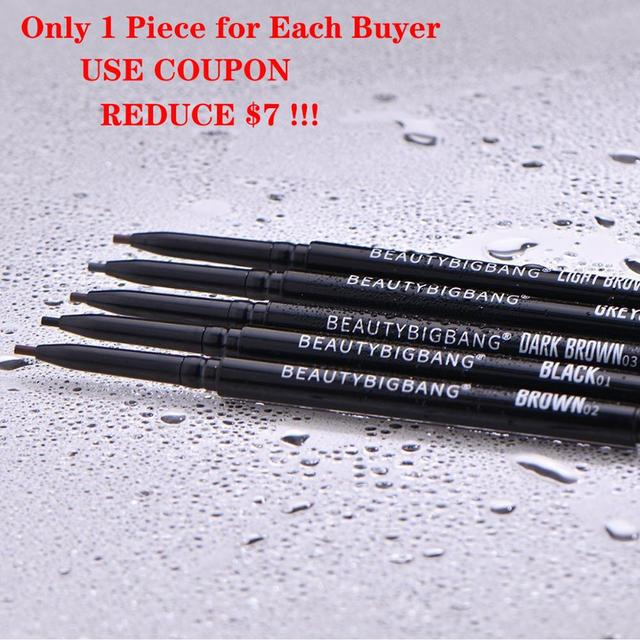 Beautybigbang Waterproof Eyebrow Pen Natural Four-claw Eye Brow Tint Makeup Pencil Brown Black Grey Double Brush 1
