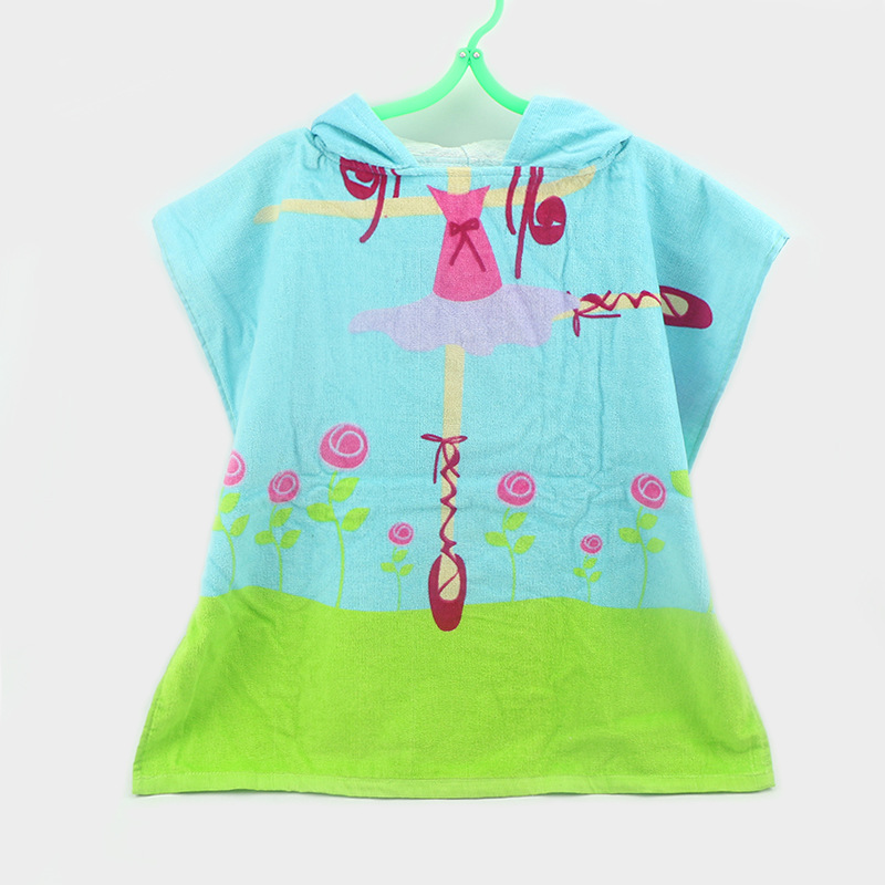 Children Pure Cotton Hooded Bathrobe Cartoon Hooded Swimming Pullover Cloak Mantle