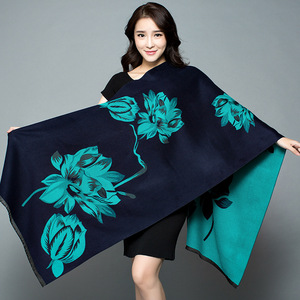 Image 1 - 2019 New Autumn Winter Warm Scarf For Women/Lady Soft Cashmere Pashmina Shawls Print Flower Two Side Cashmere Female Wraps Capes