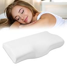 Almohada de espuma viscoelástica para cama, protección del cuello, espuma viscoelástica de rebote lento, almohada en forma de mariposa, cuello Cervical saludable, tamaño de 50x30CM