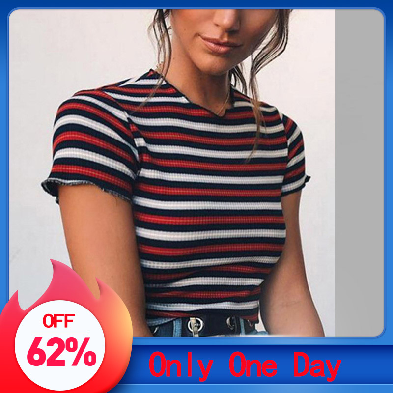 2019 Fashion Womens Casual O-Neck Crop Tops Short Sleeve Striped T-Shirt Patchwork Tops Striped Sexy Women's Tops Slim T-shirt
