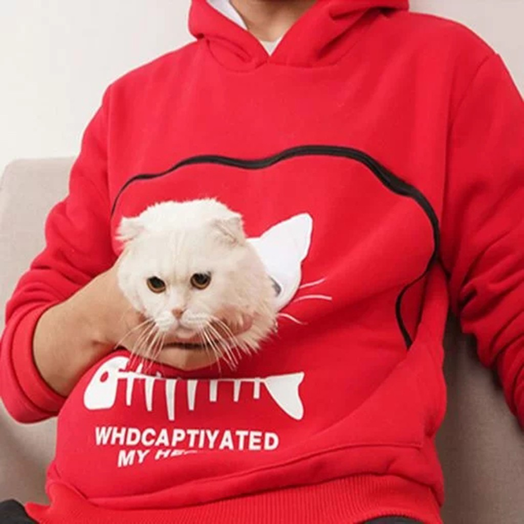 Women Sweatshirt Animal Pouch Hood Tops Carry Cat Breathable Pullover Blouse