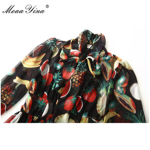 Image 4 - MoaaYina ファッションデザイナードレス春夏の女性の襟フルーツプリントエレガントなシフォン滑走路ドレス