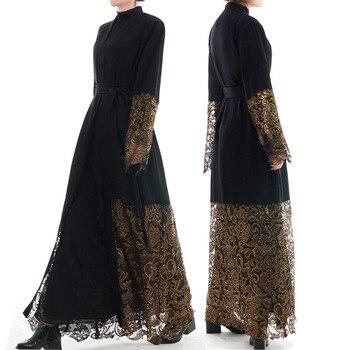 Women Muslim Dress Dubai Abaya Black Lace Robe Long Sleeve Cardigan Kaftan Elegant Design Maxi Dresses Islamic Clothing SL1147