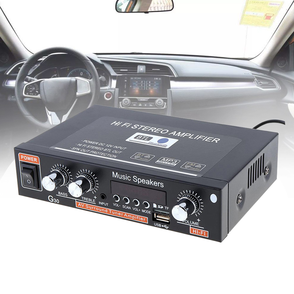 G30 Home Car Amplifier 12V Electronics HIFI Stereo Multifunction Easy Use 2 Channel Bass Remote Control Replacement Digital