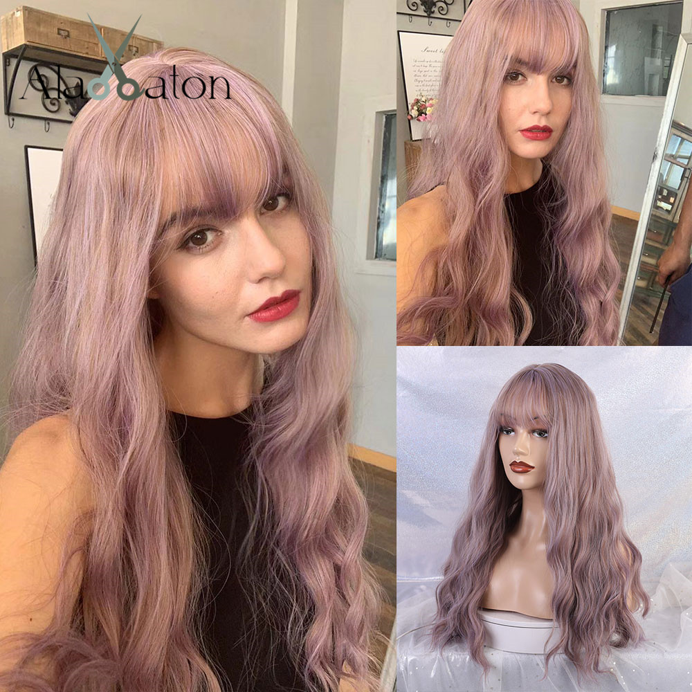 ALAN EATON Long Wavy Wigs with bangs Lolita Cosplay Party Synthetic Wigs lilac wig Purple Brown women Afro Natural Hair WigsSynthetic None-Lace  Wigs   -