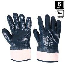 6 paires de gants de travail en Nitrile de réparation de voiture Anti-Abrasion résistant aux coupures